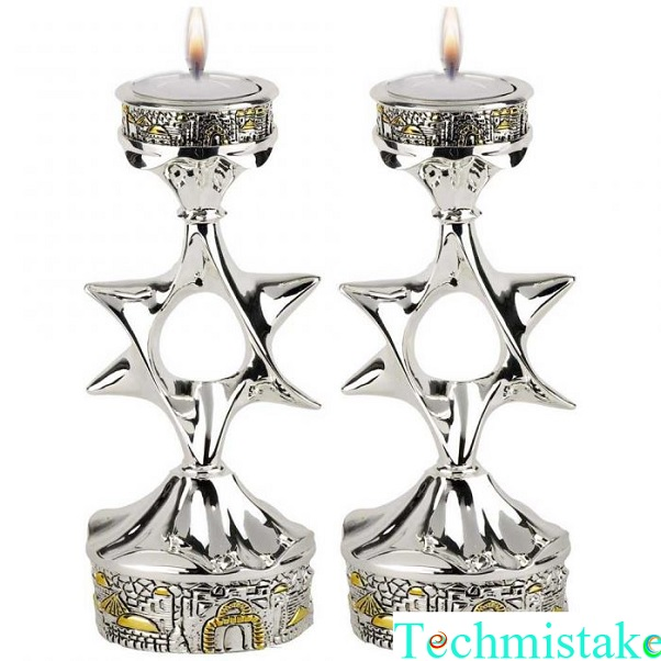 personalized shabbat candlesticks